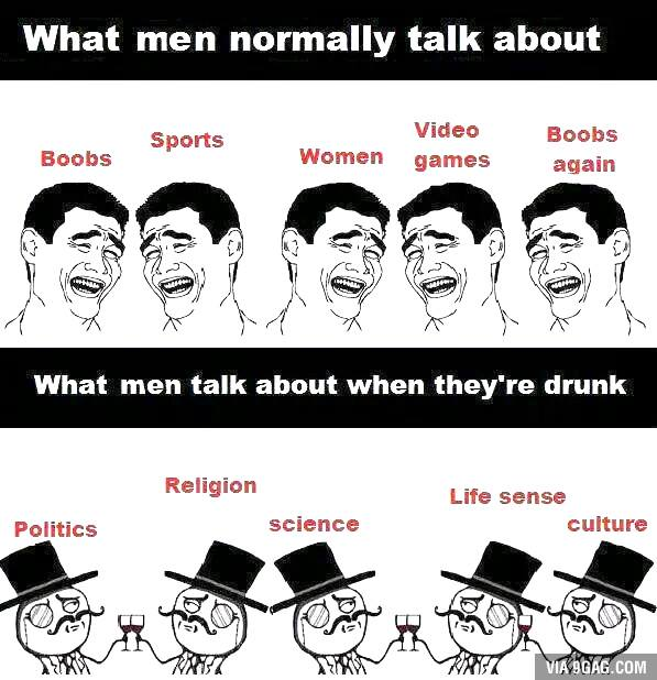 What do men talk about?
