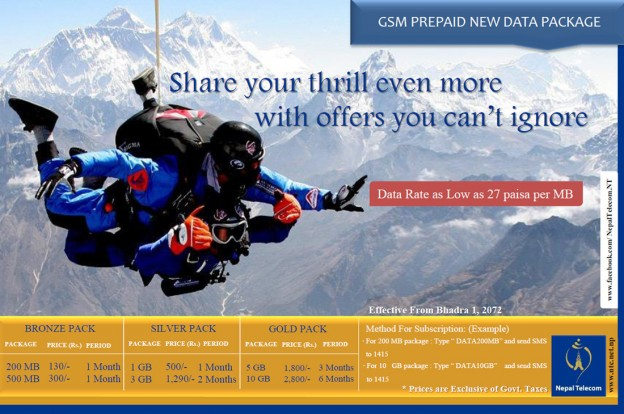Introducing Data Packs for Nepal Telecom GSM Prepaid Subscribers!