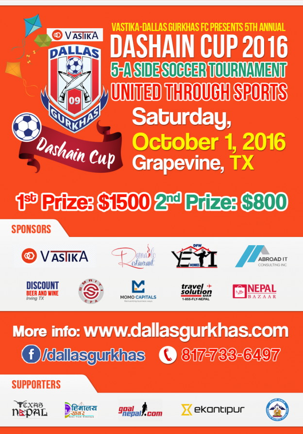 Dallas Gurkhas FC In Final Groundwork For 5th Annual Dashain Cup-2016